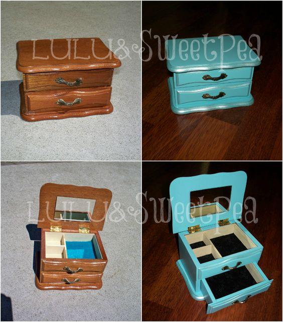 Upcycled painted jewelry box: Lulu & Sweet Pea