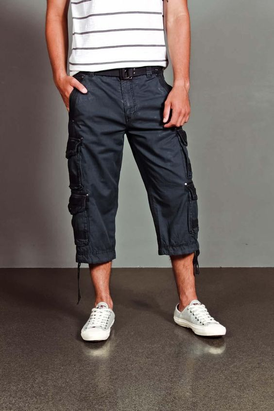 Calf Length Shorts With Cargo Pockets And Belt. Man Capri's, I ...