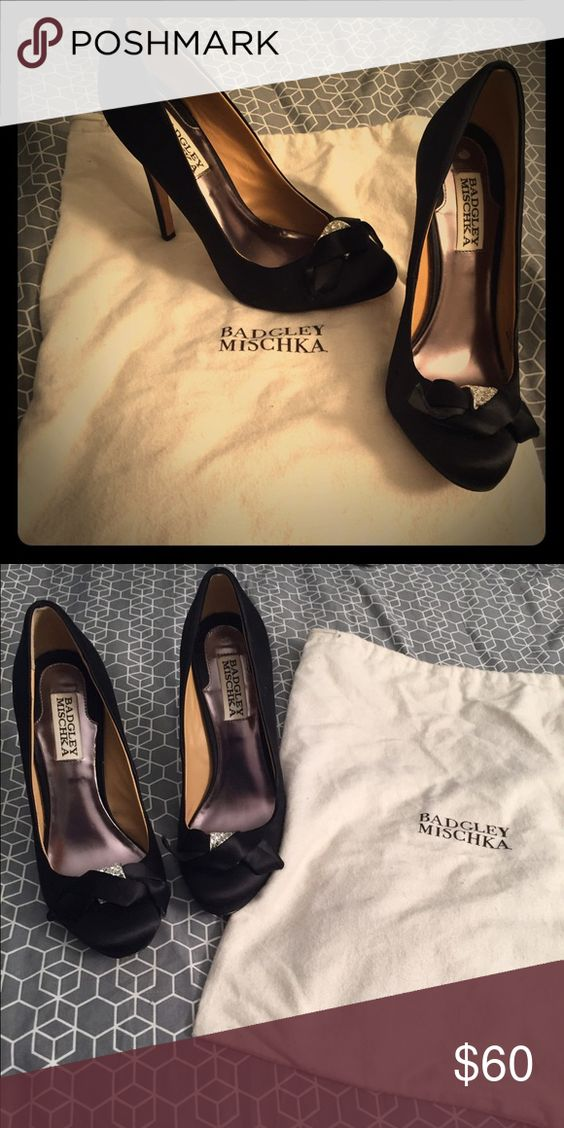 Badgley Mischka black pumps with crystal detail Badgley Mischka black pumps. Very gently used and in great condition. Crystal detail on toe. Badgley Mischka Shoes Heels