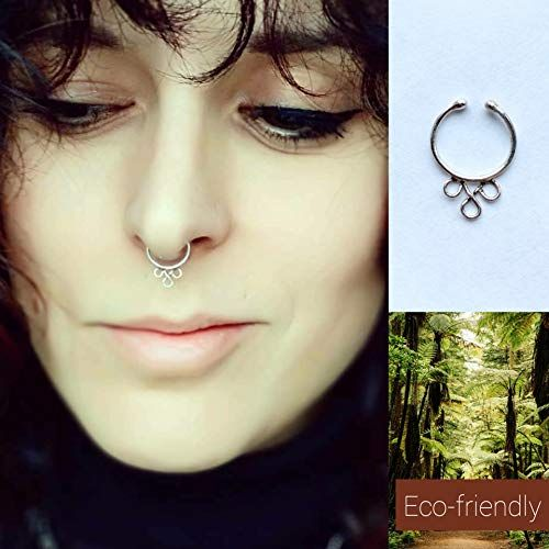 Silver Septum Faux Septum Ring Handmade Nose Ring Fake Nose Ring Eco Friendly Body Jewellery Boho Nose Ring Eth Faux Septum Ring Boho Nose Ring Fake Nose Rings