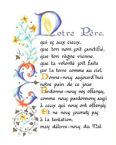 Image result for notre pere prayer scroll