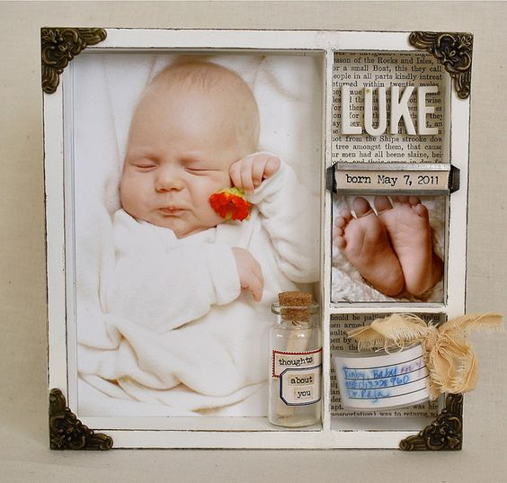 I'm thinking how adorable this little baby's face is in this pic... & I think the shadow box is cute too