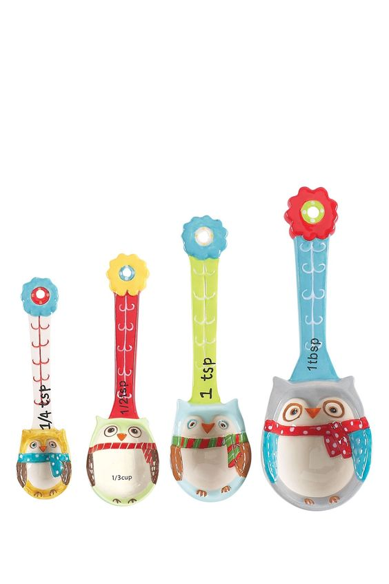 Snowy Owls Measuring Spoon - Set of 4   Kitchen & Dining ...