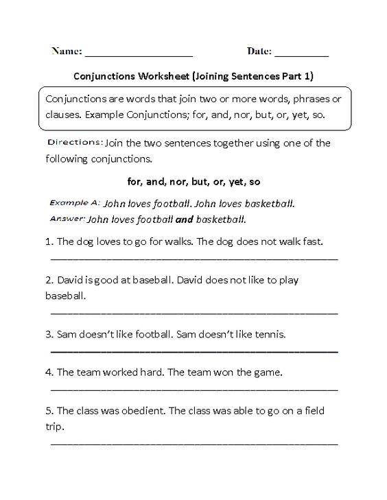 Conjunctions Worksheet Joining Sentences Part 1 | Englishlinx.com ...