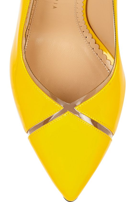 Charlotte Olympia | Natalie PVC-trimmed patent-leather pumps | NET-A-PORTER.COM