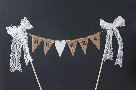 Wedding cake topper  Mr & Mrs burlap / hessian bunting by SoLuvli