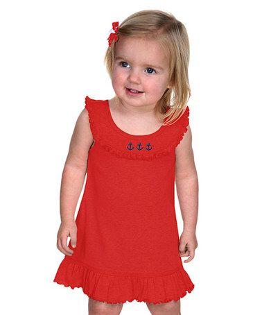Look at this #zulilyfind! Red Anchor Yoke Dress - Infant, Toddler & Girls #zulilyfinds