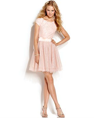 Trixxi Juniors&39 Lace Glittered Tulle Dress - Juniors Prom Dresses ...