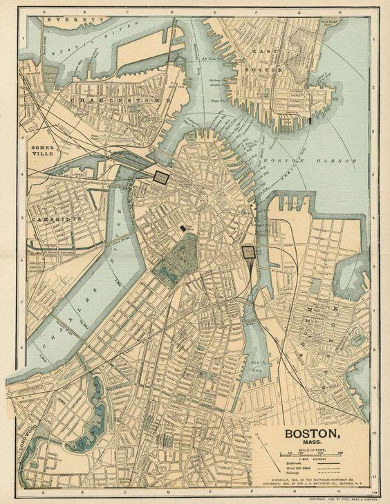 BOSTON Mass Street Map  Plan Authentic 1903 Dated