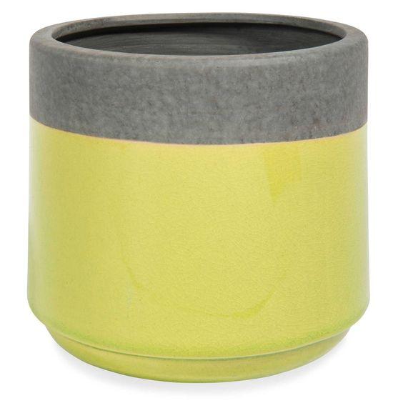 Cache-pot en grès vert H 14 cm