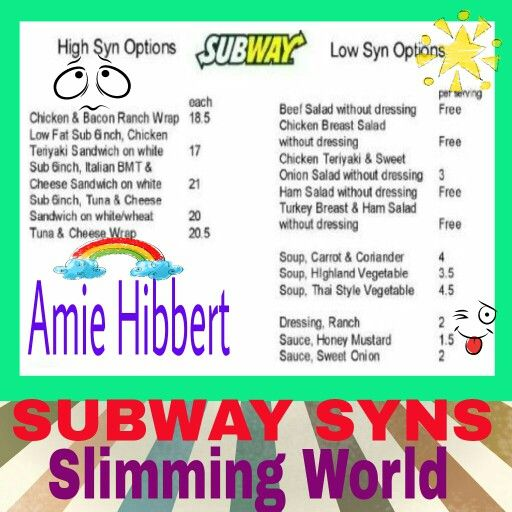 Subway Slimming World Syns Slimming World Favourites