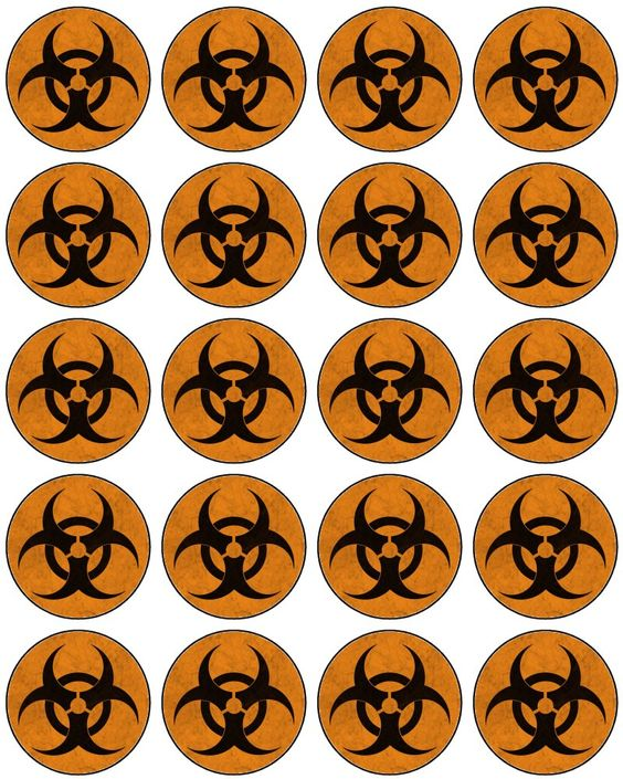 FREE printable Bio-hazard Cupcake Toppers or stickers. They are free to use and free to share for personal use only. <3