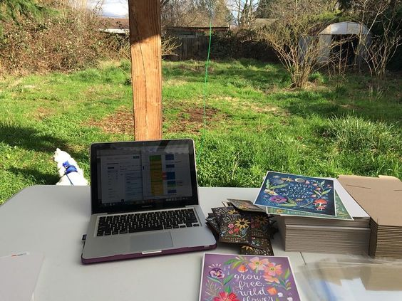 Yesterday I took my office outside! All of these lucky Katie Daisy orders are infused with sunshine and magic from the Pacific Northwest  it was also bring your cats to work day  @rumikitten enjoying some outside time! Feeling beyond blessed in this life  by whimsykitten