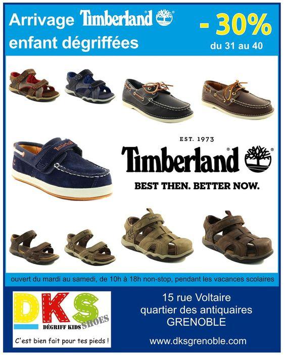 Arrivage TIMBERLAND enfant dégriffées à -30% disponibles du 31 au 40. Pendant les vacances DKS reste ouvert tous les jours,  du mardi au samedi de 10h à 18h non-stop. DKS Degriff Kids Shoes #chaussures dégriffées pour #bébé #enfant et #femme à #grenoble. www.dksgrenoble.com DKS: c'est bien fait pour tes pieds !
