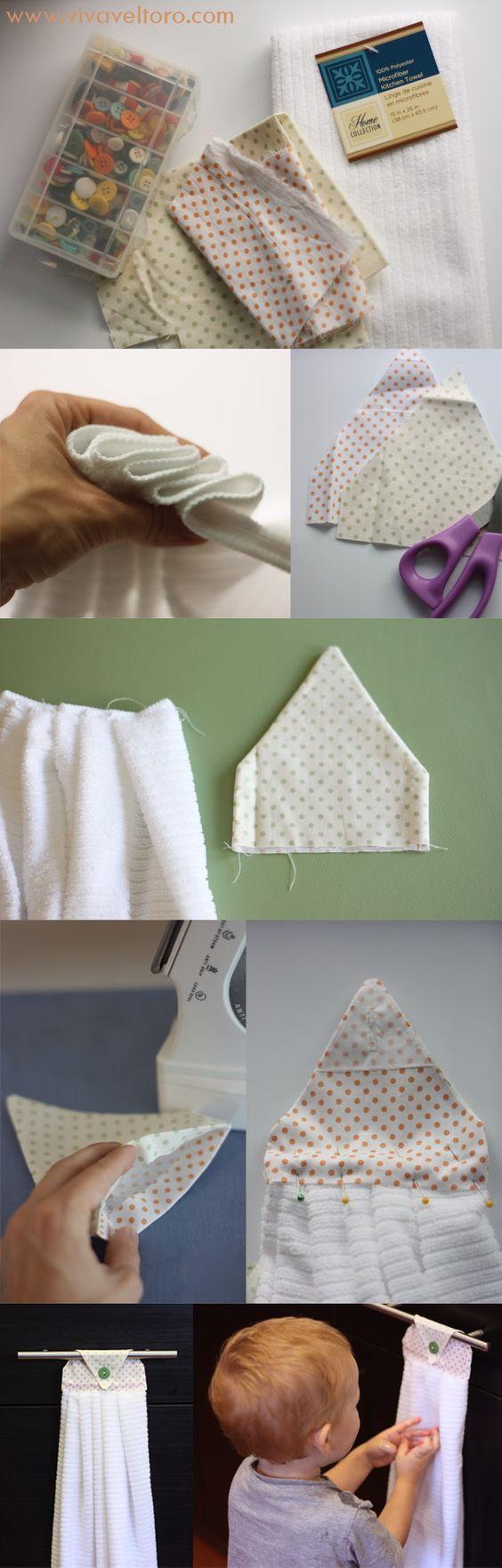 Hanging hand towel tutorial towels diy and crafts and chang 39 e 3 - Hanging kitchen towel tutorial ...