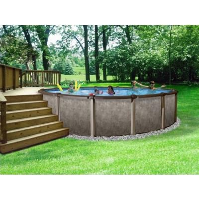 Riviera 18 39 round 54 deep above ground swimming pool for Deep swimming pools for garden