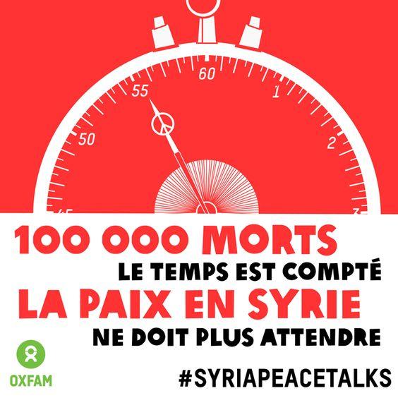 Le conflit en Syrie a déjà coûté la vie à au moins 100 000 personnes et le nombre de personnes qui fuient les violences et ont besoin d'aide humanitaire ne cesse de croître jour après jour. Pour que cessent les souffrances, il faut des négociations de paix s'ouvrent et aboutissent au plus vite. Plus d'info :  http://www.change.org/fr/p%C3%A9titions/obama-et-poutine-n-abandonnez-pas-la-syrie