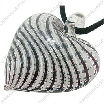 Geblasenes Glas Anhänger, Herz, 38*45mm, Bohrung: 6mm