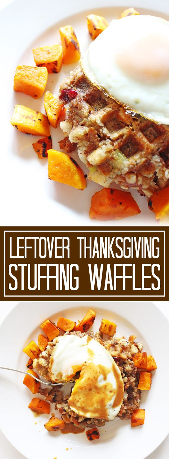 Leftover Thanksgiving stuffing waffles are a perfect (and easy) meal to make the day after Thanksgiving. | www.ifyougiveablondeakitchen.com: