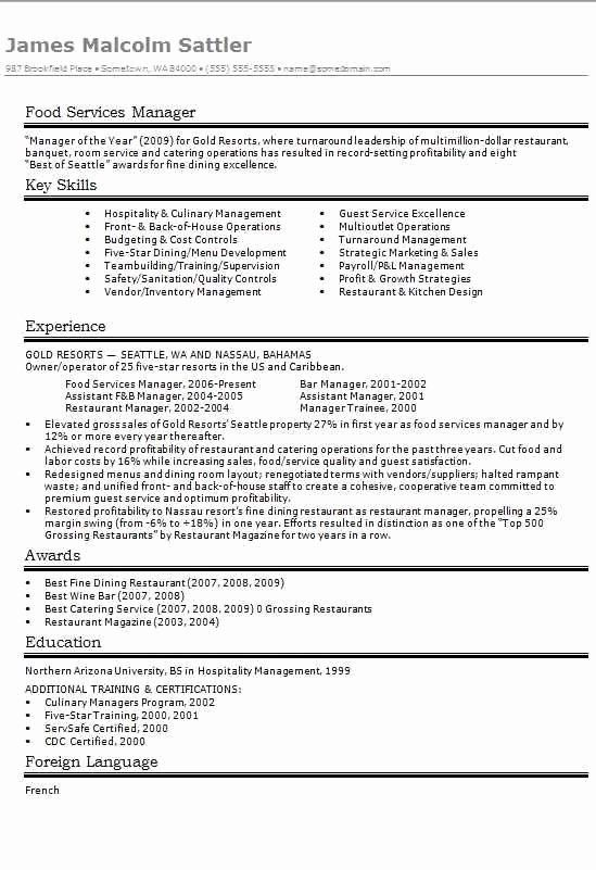 Food Service Manager Resume Lovely Food Services Manager Cv Resume Example Cv Template Master Resume Examples Manager Resume Resume