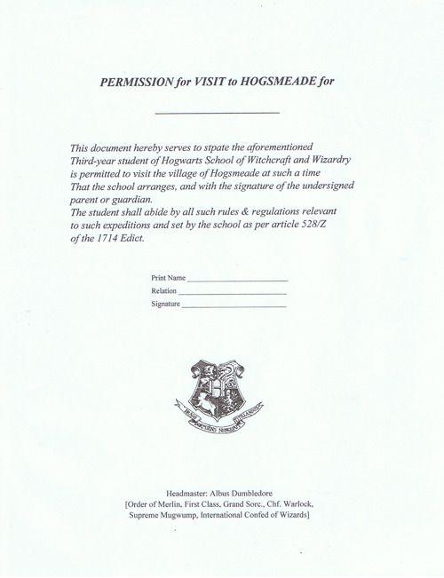 hogsmeade permission slip Board 1 Pinterest Harry potter - permission slip template