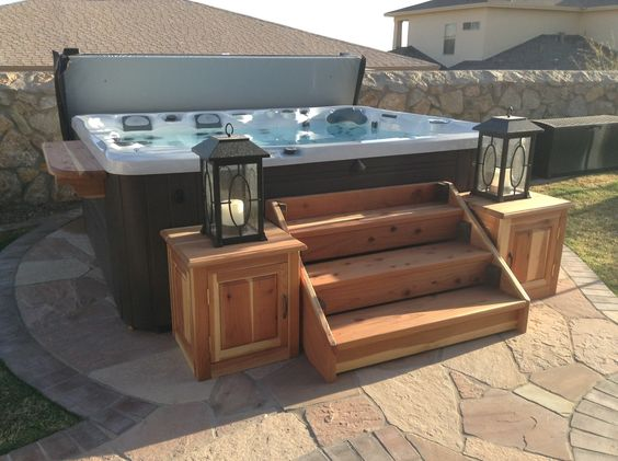 Cedar wood hot tub stairs side cabinets by andy home for Hot tub designs and layouts