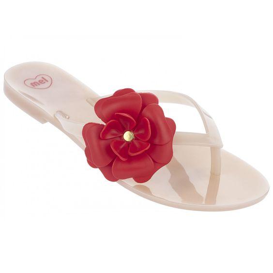Mel Dreamed by Melissa | Honey Flower Nude Contrast Flip Flops | www.melshoes.com