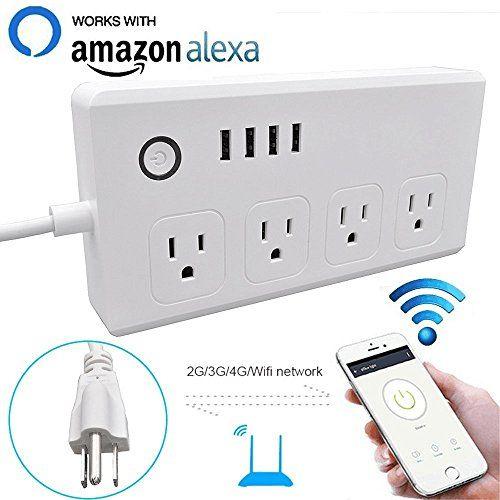 Wifi Smart Power Strip Socket With Alexa Weton Multi Plug Timer Switch Power Strip Outlet Surge Protector With 4 Ac O Wifi Power Strip Alexa Compatible Devices