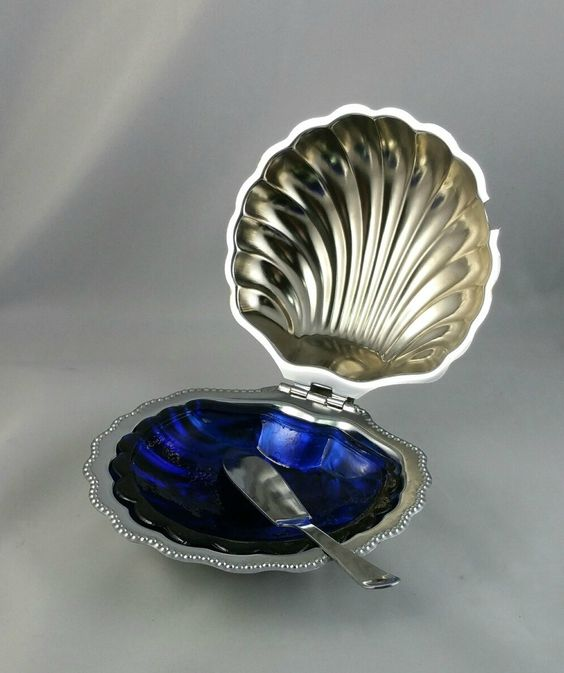 Vintage Silver Plate Clamshell Relish Dish With Cobalt Blue Glass Dish, Relish Dish, Silver Plate Condiment Dish, Clam Shell Relish Dish by EmptyNestVintage on Etsy