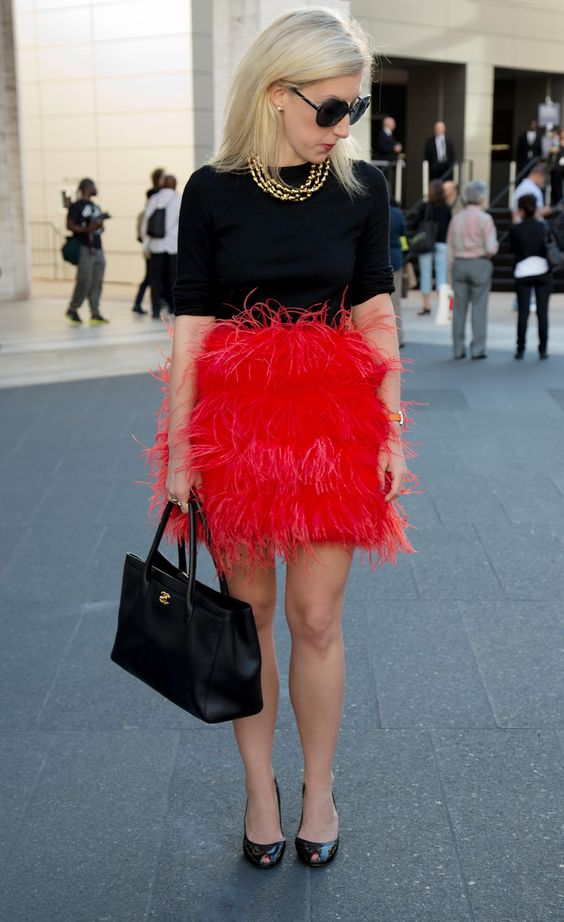 Zara pink & red feather skirt