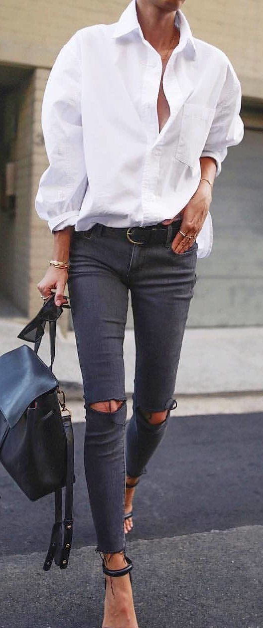 Spring Outfits Woman In White Dress Shirt And Black Distressed Jeans Pic By Ashley Urban Style Trendy Outfits Winter Distressed Black Jeans Stylish Outfits