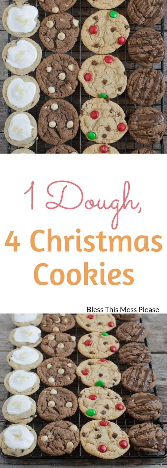 1 Dough, 4 Christmas Cookies - Save yourself some kitchen time this holiday season – this one dough recipe makes four different kinds of Christmas cookies! #christmas #christmascookies