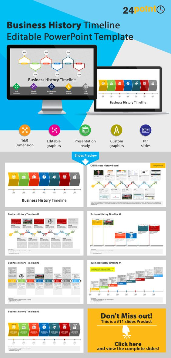 Business History Timeline PowerPoint Template - Visualize your - history powerpoint template