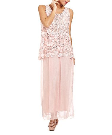 Another great find on #zulily! Light Pink Lace Sleeveless Silk-Blend Maxi Dress #zulilyfinds