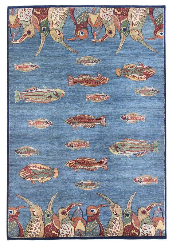 Fish Design Hand Knotted Blue Area Rug With Images Rugs Area