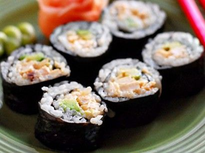 Chipotle Chicken Sushi Roll... Sounds awesome. Too bad I'm not cool enough to be able to make sushi myself.