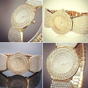 Luxury Women's Stainless Steel Gold Bling Crystal Diamond Ladies Bracelet Bangle Wrist Watch by Lovvit on Opensky