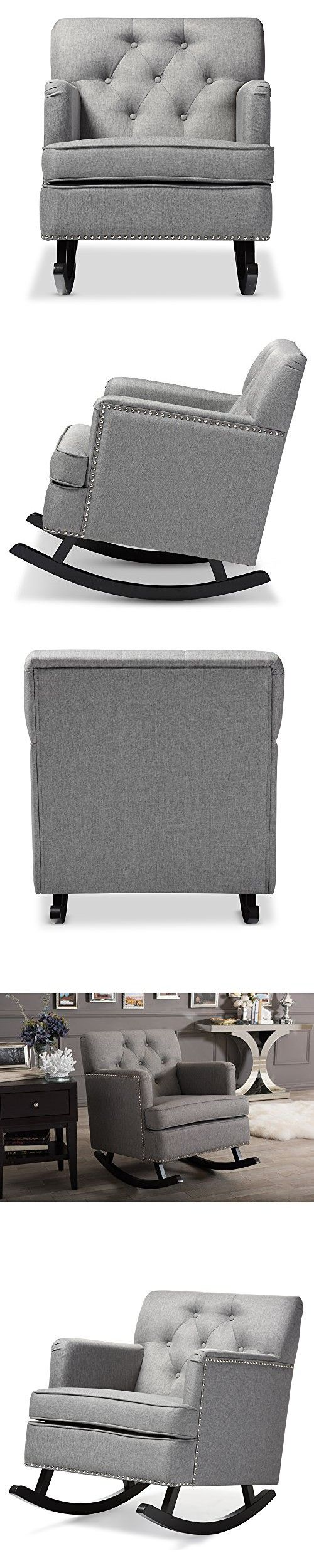 Baxton studio brighton button tufted upholstered modern bedroom bench - Baxton Studio Bethany Modern Contemporary Fabric Upholstered Button Tufted Rocking Chair