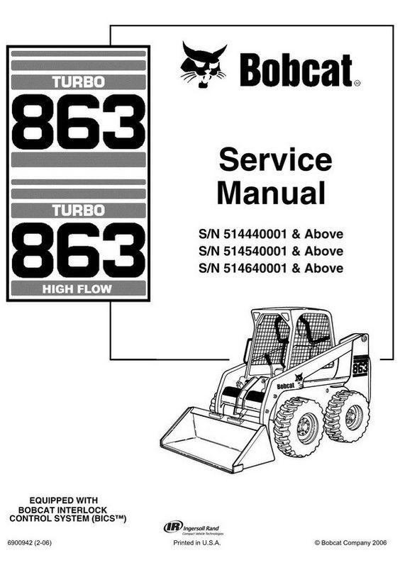 Bobcat 863 Skid Steer Loader Service Manual 6900942 2 06 Bobcat Skid Steer Loader Bobcat Company