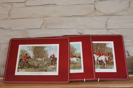 Set Of 3 Pimpernel Place Mats English Fox Hunting Fox Hunt Coasters Table Mats By Grandchildattic On Etsy Placemats Handmade Places