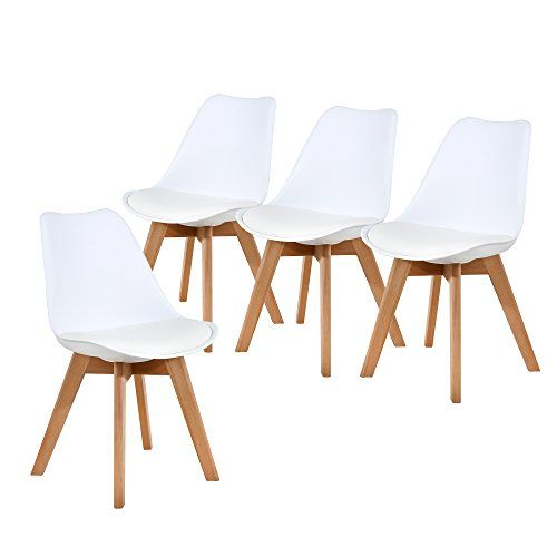 Nobpeint Eames Style Mid Century Dining Chairs Set Of 4 White Kitchen And Dinning Room Furnitu Dining Chairs Mid Century Dining Chairs Dining Chair Set Dining chair set of 4