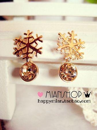 圣诞雪花镶钻 耳钉
