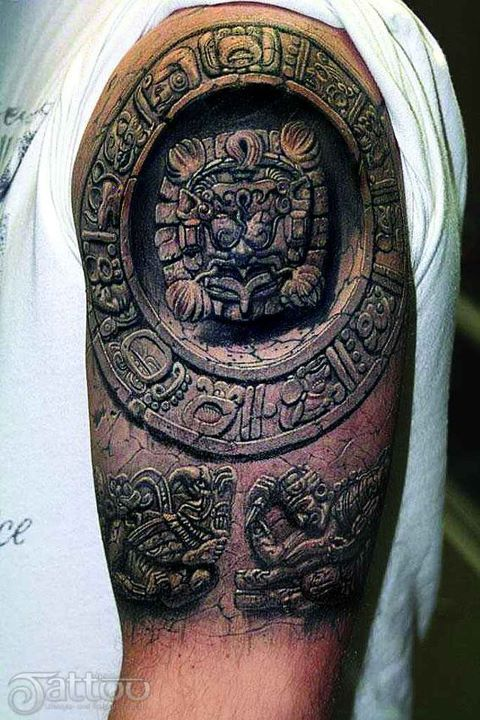 Holy moly!  Amazing shading - Moscow tattoo artist Pavel Angel's 3D Mayan tattoo.
