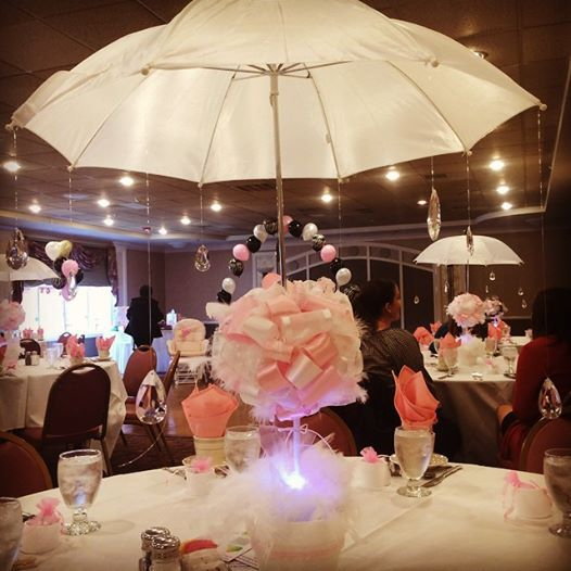 Shower centerpieces white feathers and umbrellas on pinterest
