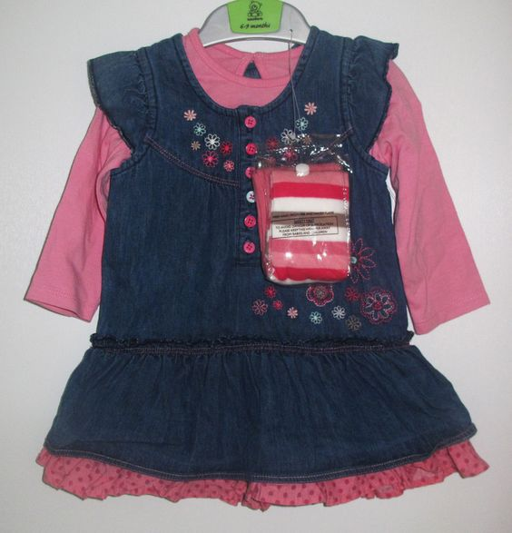 - long sleeve pink tshirt with matching denim jumper and striped tights - brand new with tags - 100 % cotton - 30 NIS www.clothingcloset.co.il