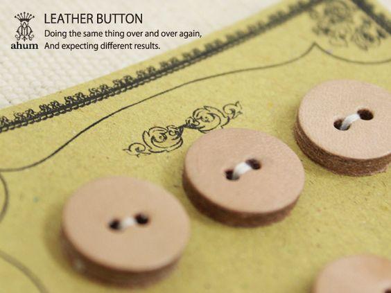 ハンドメイド LEATHERBUTTON ヌメ革(牛革) オリジナルレザーボタン BT010 Handmade button ¥700円 〆03月21日