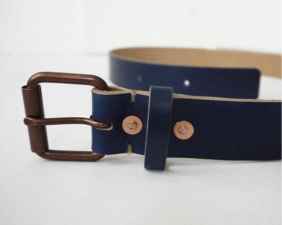 Handmade Leather Blue Belt