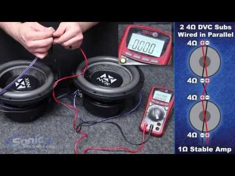 How To Wire Two Dual 4 Ohm Subwoofers To A 1 Ohm Final Impedance Car Audio 101 Youtube Subwoofer Wiring Car Audio Installation Car Audio Diy