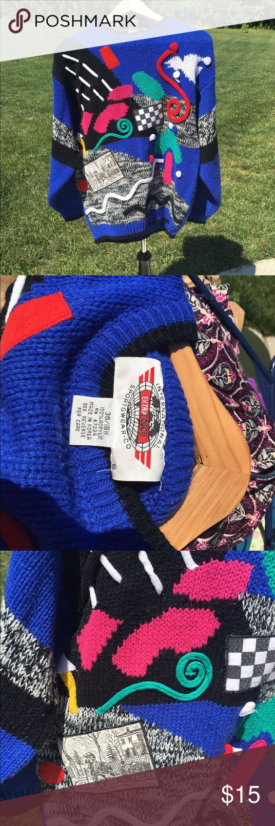 Vintage crazy sweater international sportswear XL Look at the pics!  Crazy vintage sweater.  International Sportswear brand.  Size 18w International Sportswear Sweaters Crew & Scoop Necks