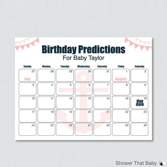 Guess The Birth Date Baby Shower Game: Nautical Birthday Predictions Calendar